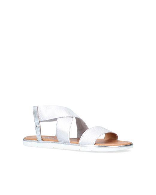 Carvela Kurt Geiger - Metallic Silver 'beckon' Flat Sandals - Lyst