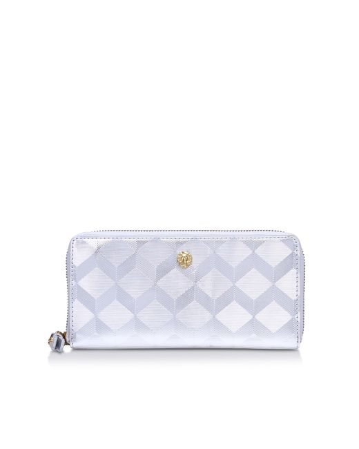 Anne Klein | Metallic Slim Zip Around Purse | Lyst