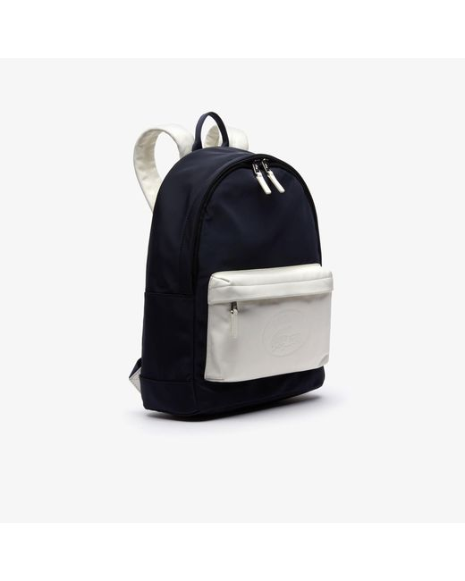8ae1d2f69278 ... Lacoste - Black L.12.12 Embossed Lettering Bicolour Leather Backpack  for Men - Lyst ...