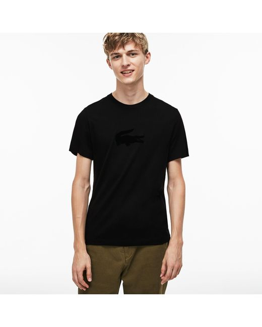 f0e013c5fac0 ... Lacoste - Black Crew Neck Oversized Crocodile Jersey T-shirt for Men -  Lyst ...