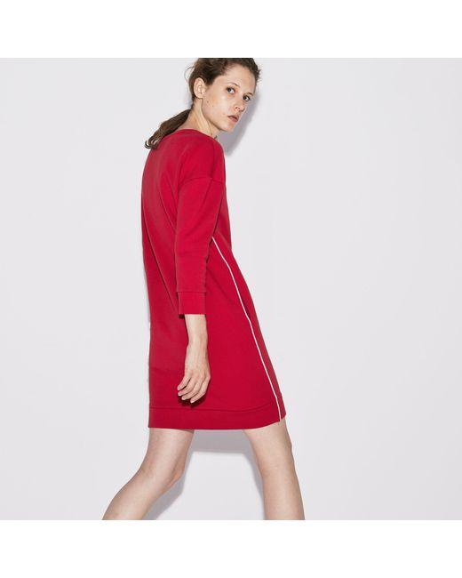 ec963b5f601a2 ... Lacoste - Red Sport Piped Fleece Tennis Sweatshirt Dress - Lyst ...