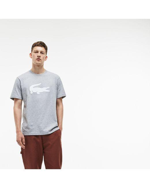 ce62022b ... Lacoste - Gray Crew Neck Oversized Crocodile Cotton Jersey T-shirt for  Men - Lyst ...