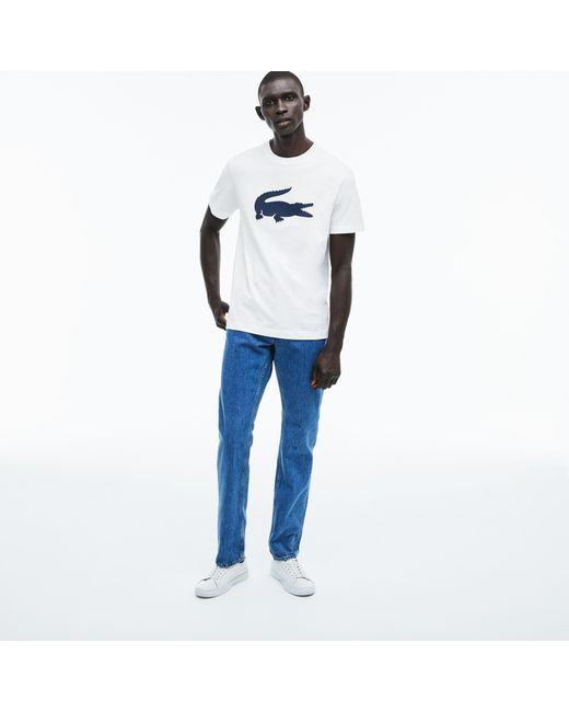59f4964c54 Lyst - Lacoste Crew Neck Oversized Crocodile Cotton Jersey T-shirt ...