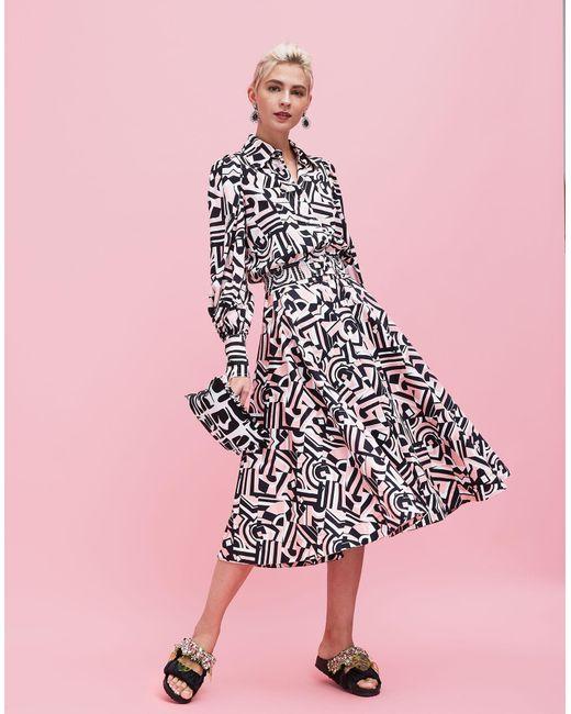 db8aeb68c8 ... La Double J - Multicolor Circle Skirt Tetris In Stretch Cotton - Lyst  ...