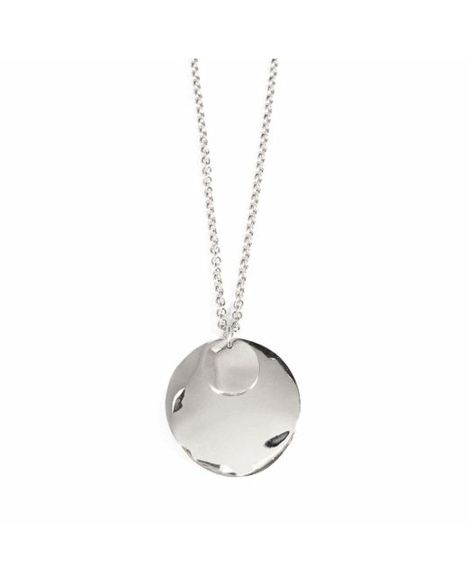 Lady Grey - Metallic Wave Disc Necklace In Silver - Lyst