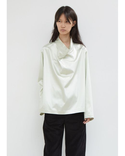Lemaire - White Satin Cowl Neck Top - Lyst
