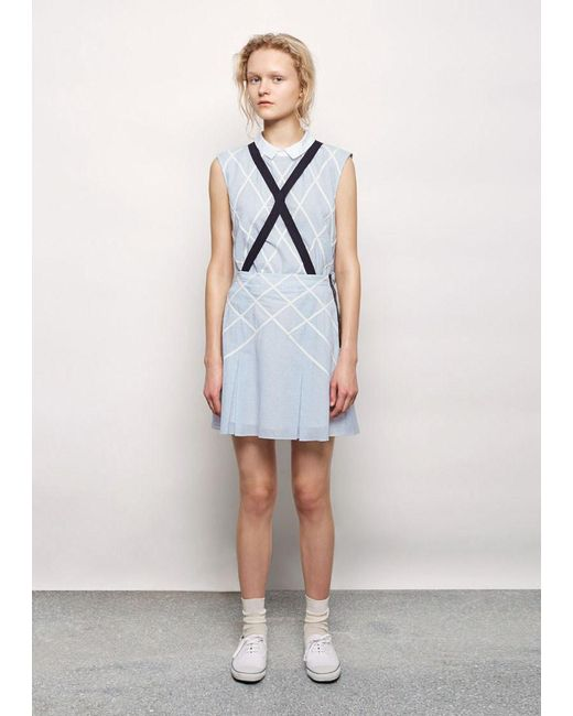 band of outsiders lattice appliqu suspender skirt in blue
