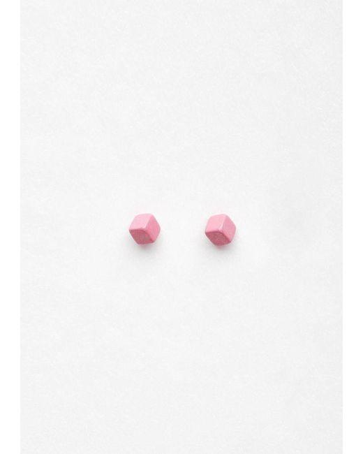 Julien David   Pink Cube Pierce Long Earring   Lyst