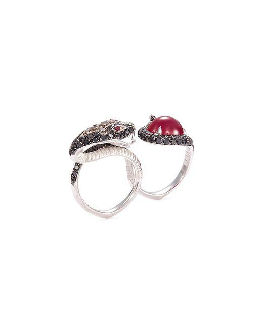 Stephen Webster - Metallic 'burma' Diamond Ruby 18k White Gold Snake Two Finger Ring - Lyst