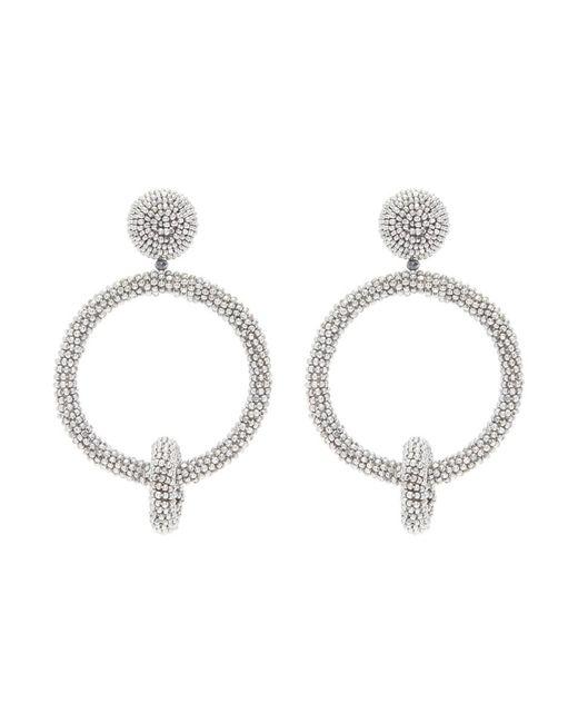 Oscar de la Renta - Metallic Beaded Interlocking Hoop Clip Earrings - Lyst