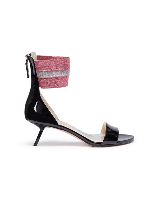 Alchimia Di Ballin - Black 'alaya' Slanted Heel Ankle Band Patent Leather Sandals - Lyst