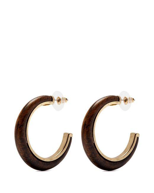 Kenneth Jay Lane - Brown Wooden Hoop Earrings - Lyst