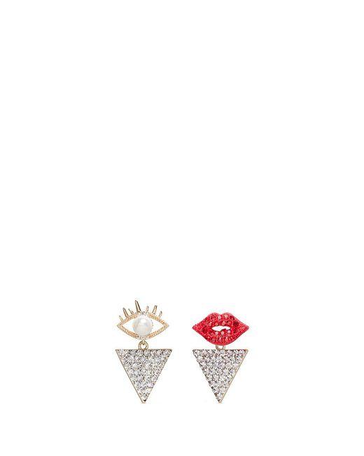 Venna | Metallic Detachable Triangle Drop Glass Crystal Lips Earrings | Lyst