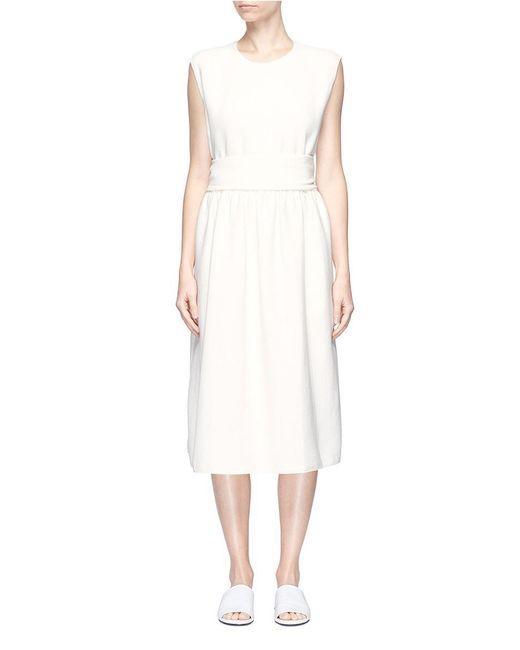 Ms Min - White Mock Sash Belt Cady Midi Dress - Lyst