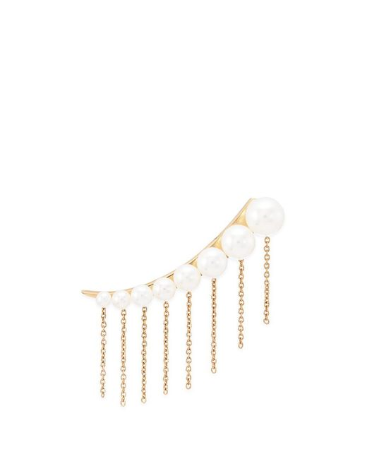 Sophie Bille Brahe | Metallic X Sacai 001 Short Chain Fringe Pearl Single Creeper Earring | Lyst