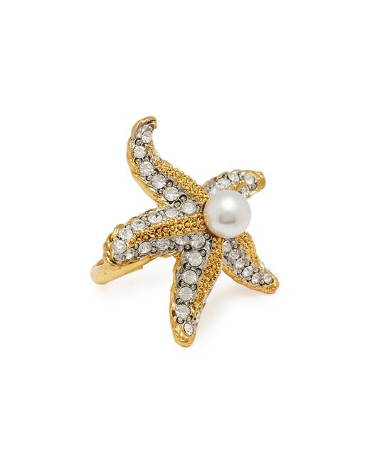 Kenneth Jay Lane - Metallic Glass Crystal Glass Pearl Starfish Ring - Lyst
