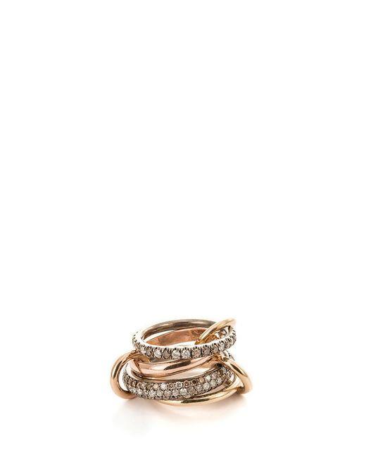 Spinelli Kilcollin | Metallic 'scorpio' Diamond 18k Rose Gold Silver Four Link Ring | Lyst