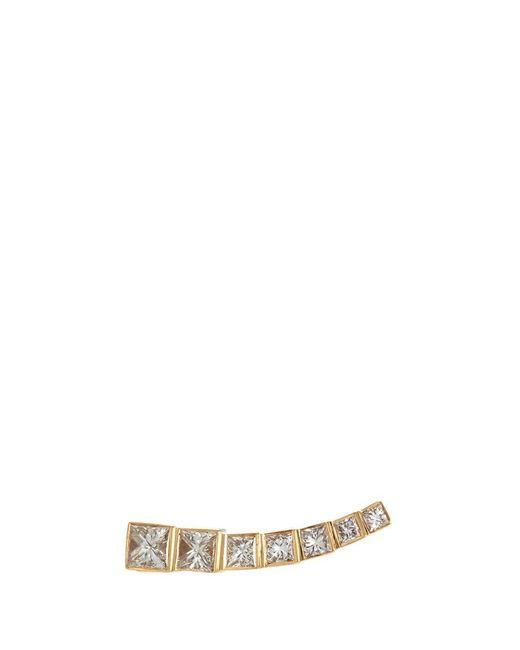 Sophie Bille Brahe   Metallic 'petite Croissant Princess' Diamond 18k Yellow Gold Single Climber Earring   Lyst