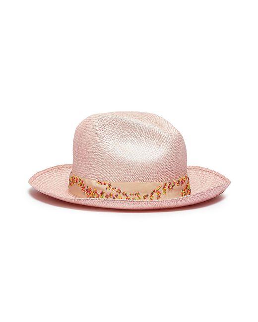 9bfcefcaaca My Bob - Pink Beaded Straw Fedora Hat - Lyst ...