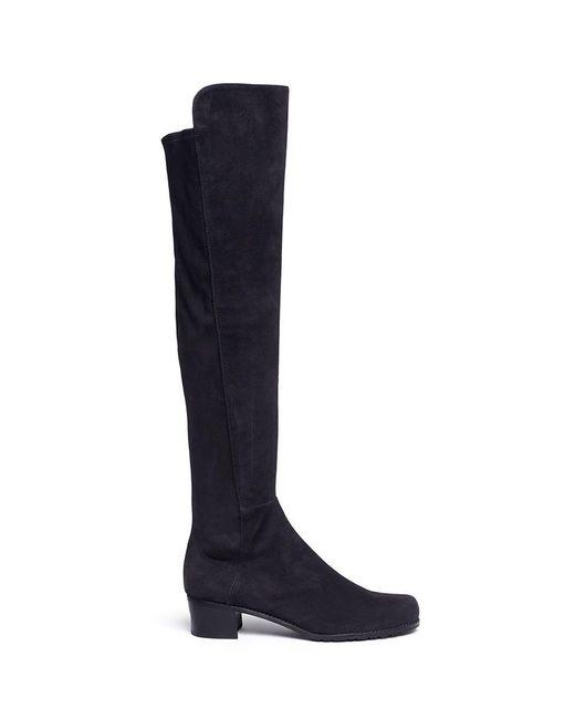 Stuart Weitzman | Black 'all Serve' Stretch Suede Thigh High Boots | Lyst