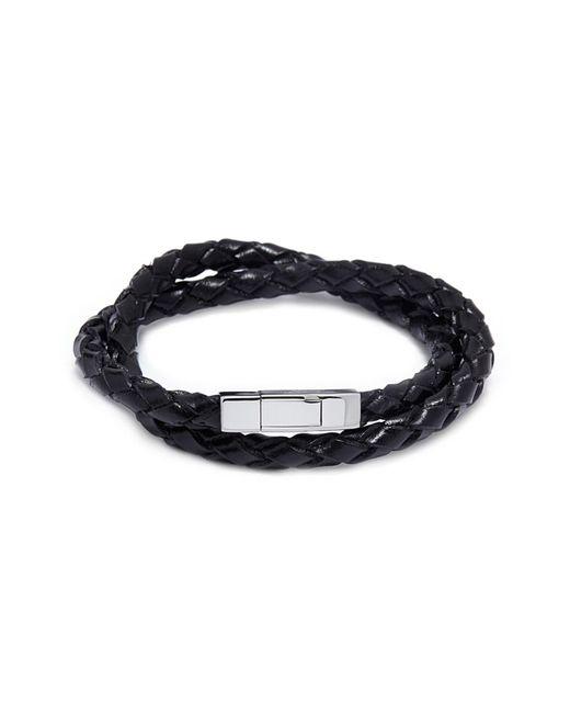 Tateossian - Black Double Wrap Braided Leather Bracelet for Men - Lyst