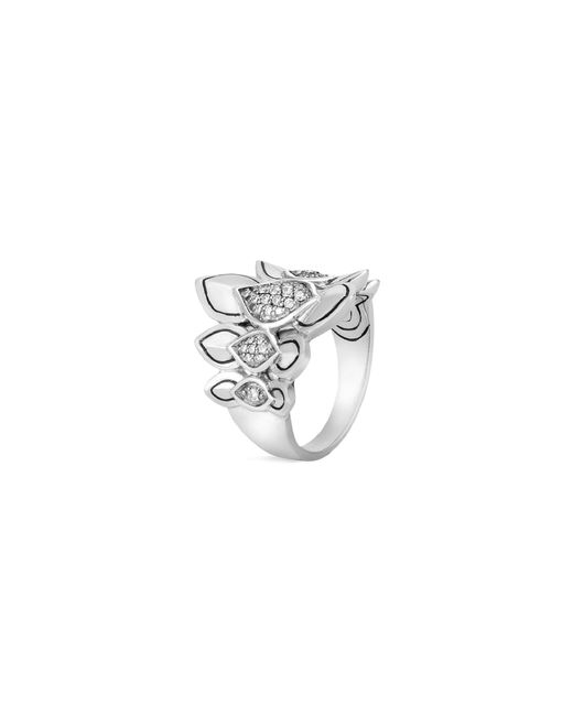John Hardy - Metallic 'legends Naga' Diamond Small Silver Saddle Ring - Lyst