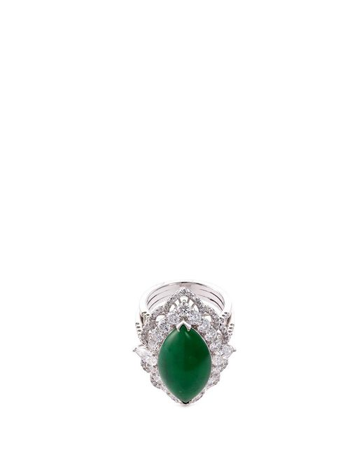 LC COLLECTION - Metallic Diamond Jade 18k White Gold Marquise Ring - Lyst