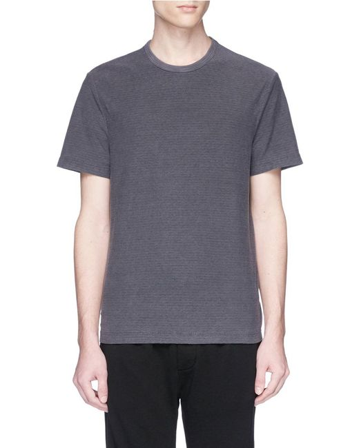 Lyst james perse micro stripe t shirt in grey for men for James perse t shirts sale
