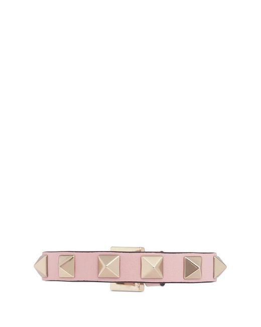 Valentino   Pink 'rockstud' Small Leather Bracelet   Lyst