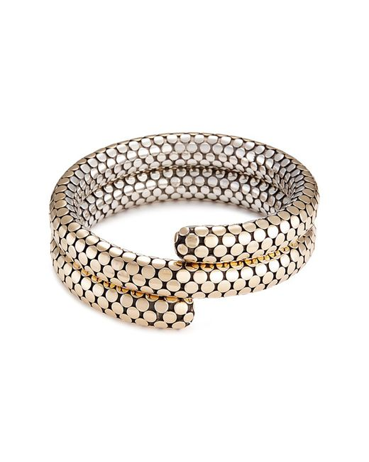 John Hardy - Metallic 18k Yellow Gold Silver Dotted Coil Bracelet - Lyst