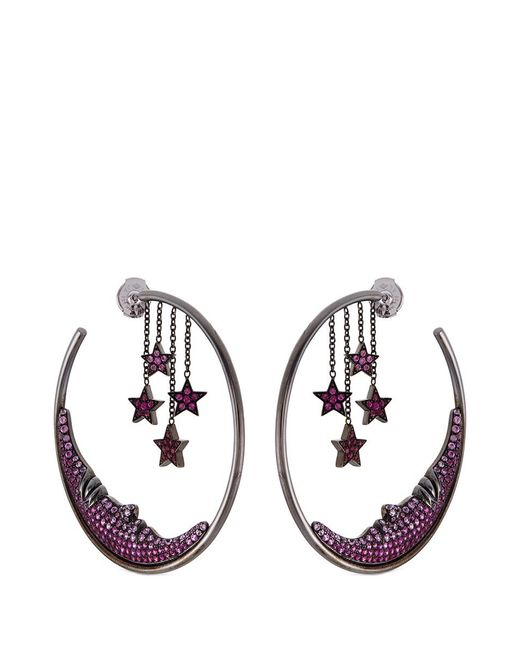 Lydia Courteille | Metallic Ruby Sapphire 18k Gold Star And Moon Hoop Earrings | Lyst