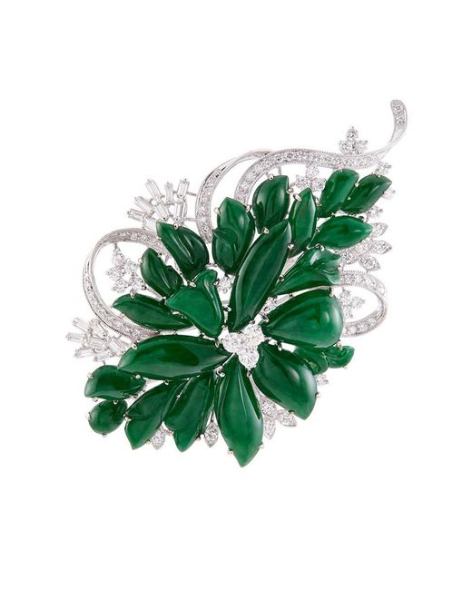 LC COLLECTION - Metallic Diamond Jade 18k White Gold Floral Brooch - Lyst