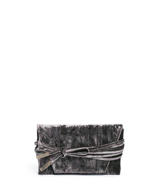 Stuart Weitzman | Gray 'petite Black Tie' Wraparound Tie Velvet Clutch | Lyst