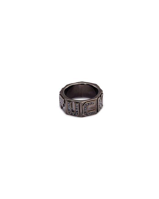 Lynn Ban - Metallic 'i Fxxk You' Diamond Rhodium Silver Ring - Lyst