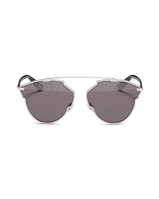 Dior - Gray ' So Real S' Stud Lens Panto Sunglasses - Lyst