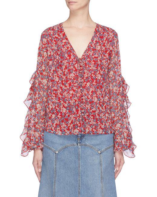 Nicholas - Red Blossom Silk Ruffle Blouse - Lyst