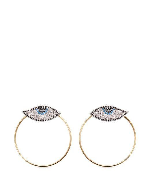 Venna | Metallic 'evil Eye' Detachable Hoop Glass Crystal Earrings | Lyst