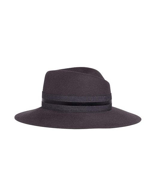 Maison Michel - Gray 'virginie' Stripe Band Rabbit Furfelt Fedora Hat - Lyst