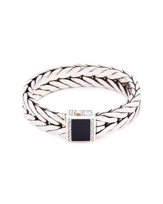 John Hardy - Metallic Onyx Silver Weave Effect Link Chain Bracelet for Men - Lyst