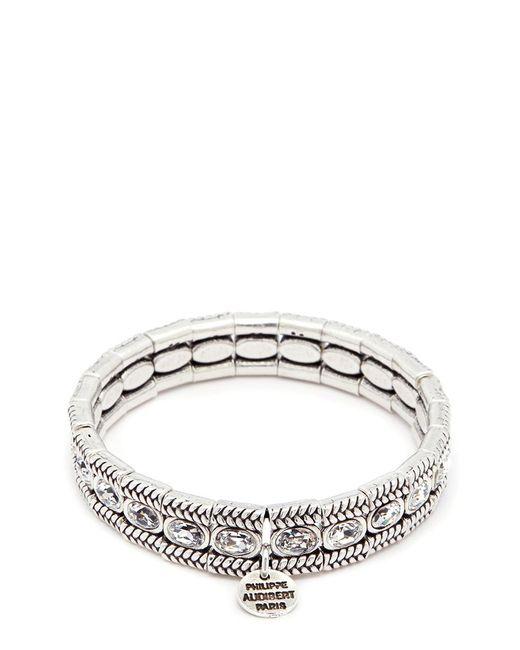 Philippe Audibert | Metallic 'claud' Swarovski Crystal Braid Effect Plate Elastic Bracelet | Lyst