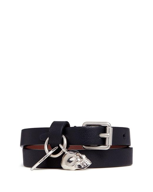 Alexander McQueen - Black Skull Charm Double Wrap Leather Bracelet - Lyst