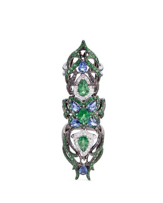 Wendy Yue   Metallic Diamond Sapphire Tsavorite 18k White Gold Full Finger Ring   Lyst