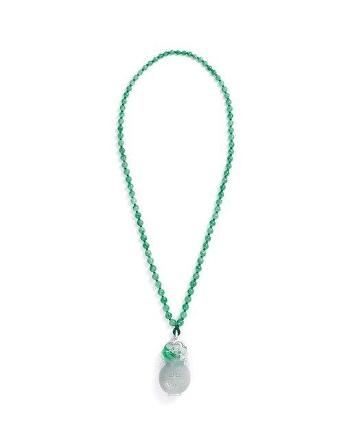 LC COLLECTION - Metallic Diamond Jade 18k White Gold Pendant Necklace - Lyst
