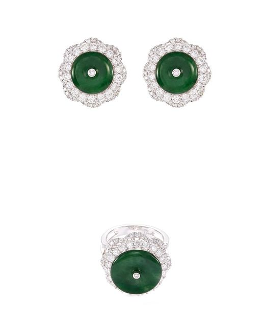 LC COLLECTION - Metallic Diamond Jade 18k White Gold Disc Floral Ring And Earrings Set - Lyst