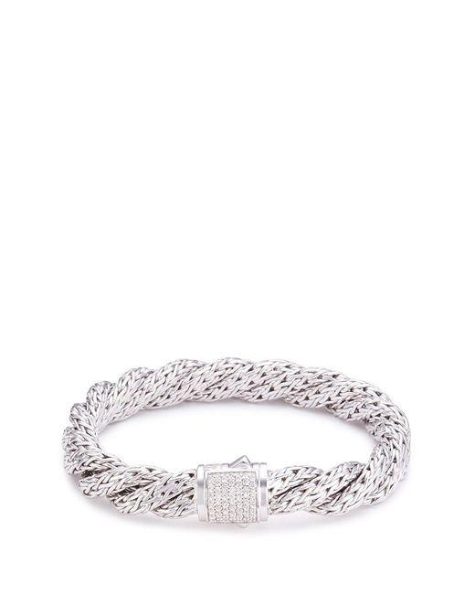 John Hardy | Metallic Diamond Silver Twist Medium Woven Chain Bracelet | Lyst