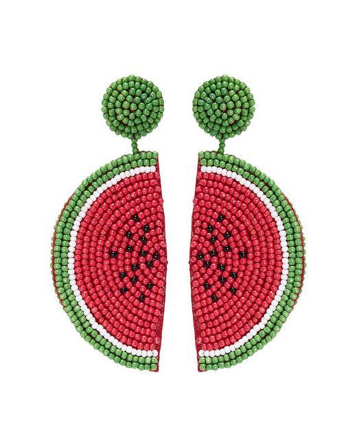 Kenneth Jay Lane - Red Beaded Watermelon Slice Drop Earrings - Lyst