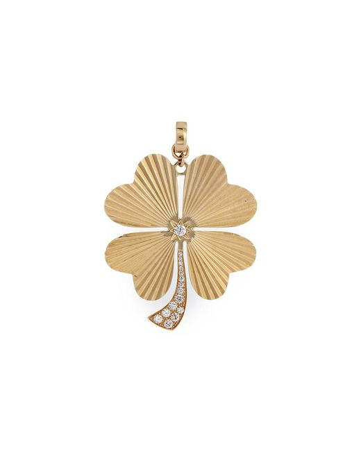 Loquet London | Metallic 'four Leaf Clover' Diamond 14k Yellow Gold Bracelet Charm – Large | Lyst