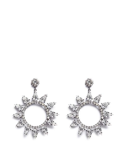Kenneth Jay Lane | White Glass Crystal Cutout Circle Drop Earrings | Lyst