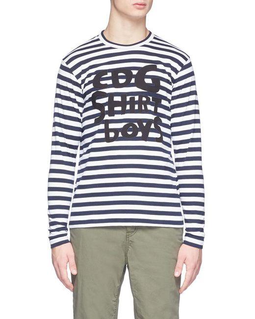 Comme Des Gar Ons 39 Boys 39 Patch Stripe Long Sleeve T Shirt