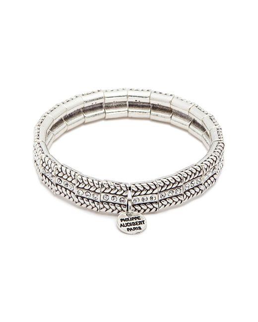 Philippe Audibert - Metallic 'fillian' Swarovski Crystal Braid Effect Elastic Bracelet - Lyst